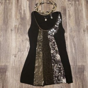 BKE Boutique Black Sequin Embellished Tank Top